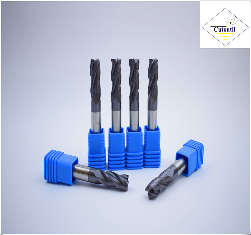 Cutoutil HRC45 Tialn Coating D9*20*D10*75  2f/4f for Steel CNC Machining Part   Square  Carbide End Mills Tools