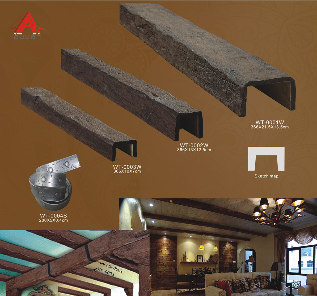 China Suppliers Lowes Pu Faux Wood Beam Timber Ceiling