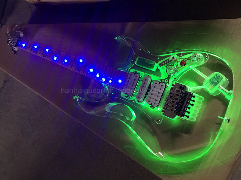 china hanhai acrylic electric guitar with colorful led lights china guitar electric guitar. Black Bedroom Furniture Sets. Home Design Ideas