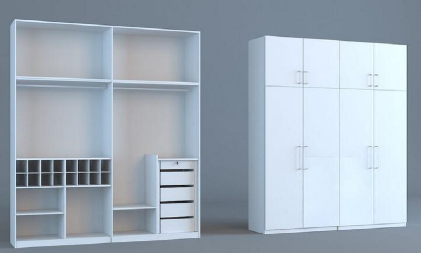Hot Sell Bedroom Set Project Wardrobe White Color (SZ-WDP04)