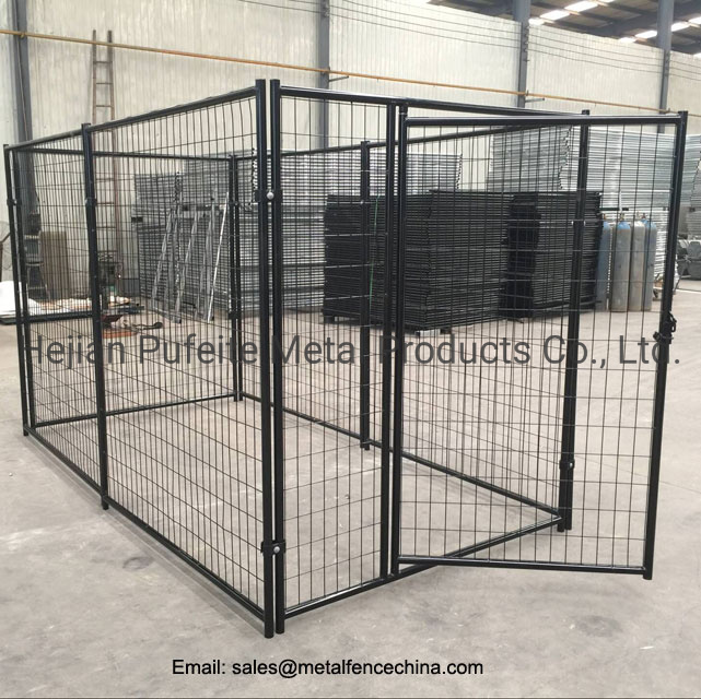 China 4ft X 8ft X 6ft Height Black Color Welded Wire Dog Run Kennel China Iron Cages And Metal Pet Cage Price