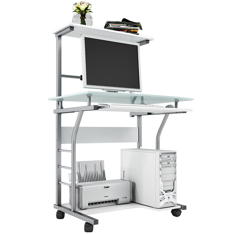 China Home Office Mobile Computer Desk With Glass Tabletop Table Workstation