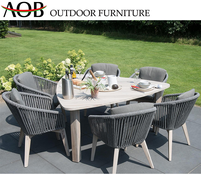 [Hot Item] Morden Outdoor Dining Set Garden Hotel Furniture 6 Seater Rope Chair and Triangle Table
