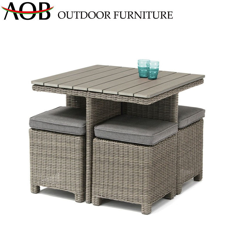 China Rattan Wicker 5 Piece Dining Sets Outdoor Garden Patio Balcony Furniture With Teak Top Table China Outdoor Furniture Dining Furniture