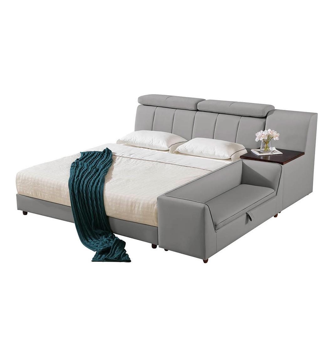 [Hot Item] Bedroom Furniture Good Quality Modern Leather Wooden Frame Grey  Sofa Bed Design