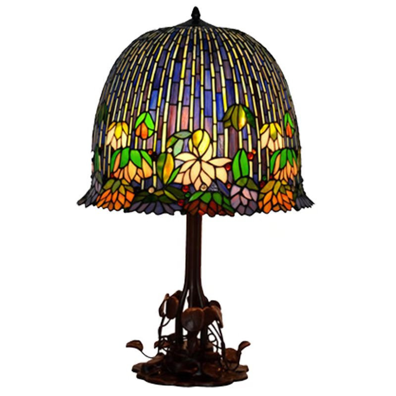 China Wholesale Price Lotus Flower Design Tiffany Stained Glass Leadlight Table Lamp China Tifany Table Lamp Lead Lamp