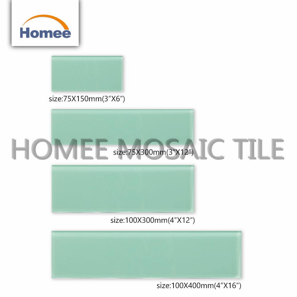 China Customized Bathroom Glass Tiles Green Glass Subway Mosaic Tile ...