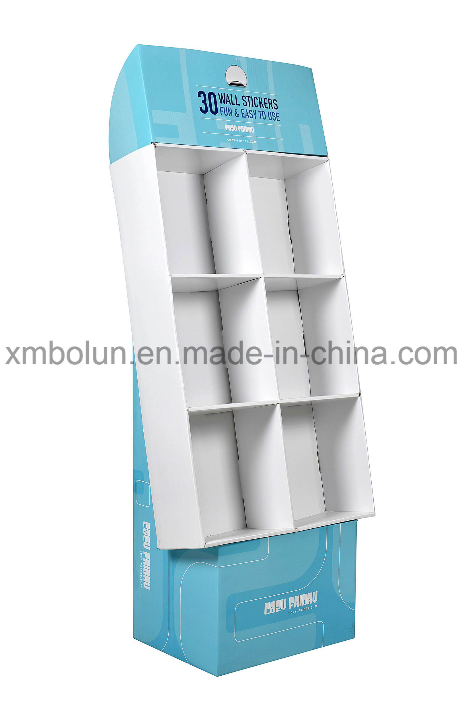 China Customized Corrugated Cardboard Book Floor Tiers Display Stand