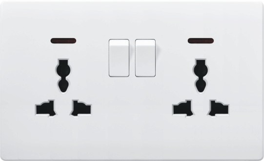 China British Standard White Double 13a Switched Socket Outlet With Neon