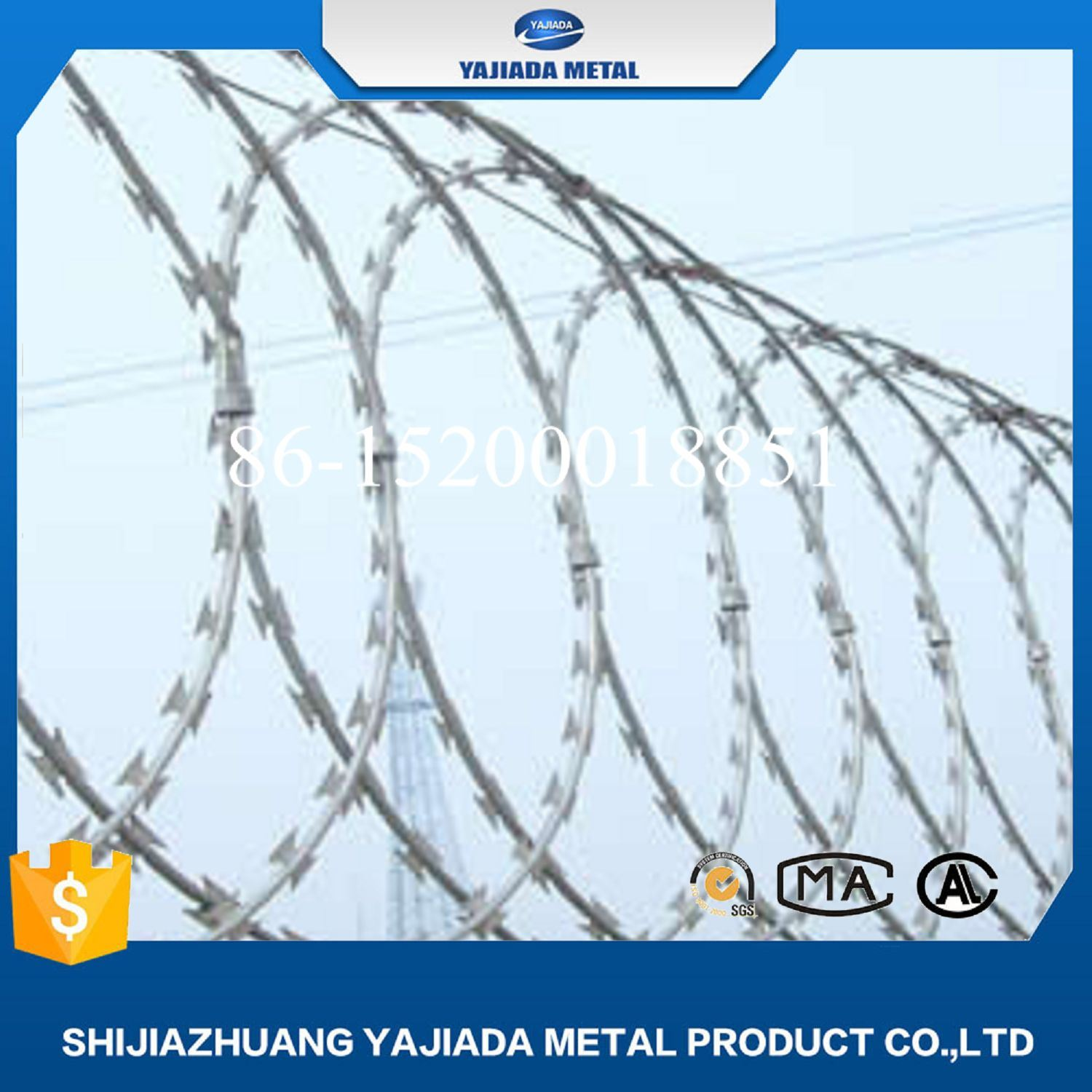 China Bto 22 Hot Dipped Galvanized Razor Barbed Wire for Fence ...