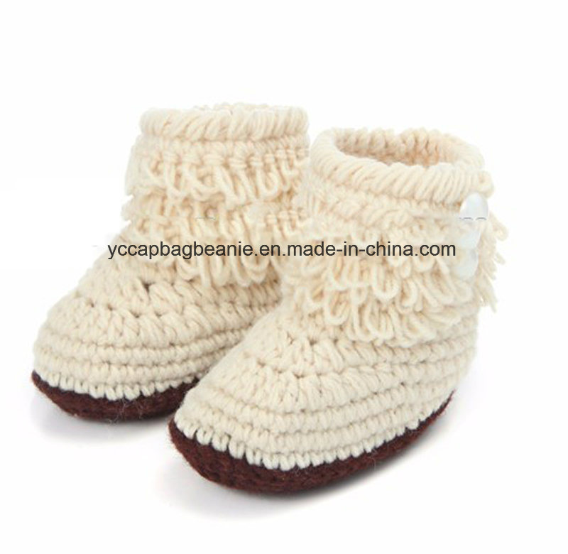 Baby Christening Handmade Crochet Knit Shoes pictures & photos