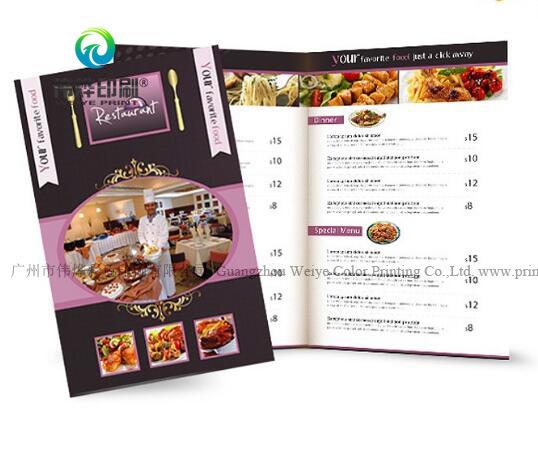 china custom design color foldable restaurant menu catalogue