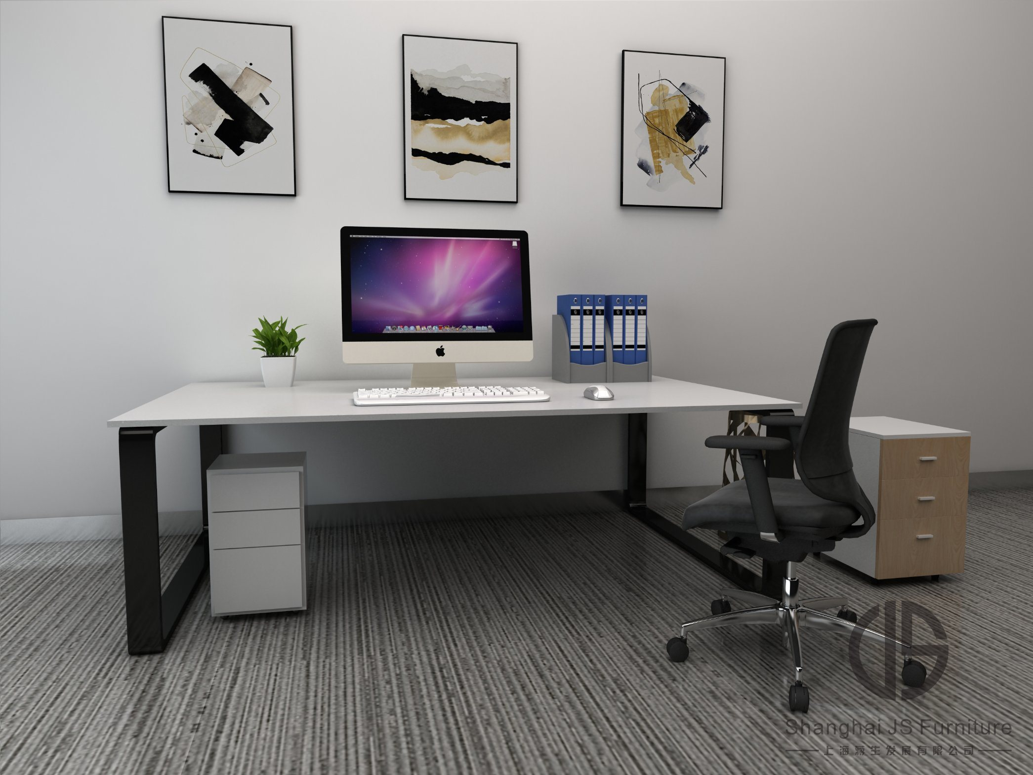 [Hot Item] Office Furniture, Modern White Large Office Desks; Environmental  Friendly Fiberboards; Can Be Customized