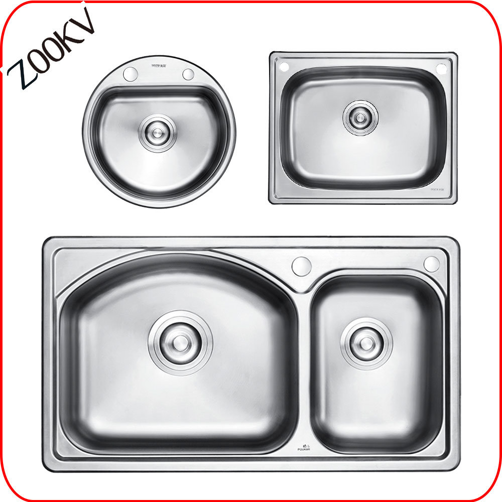 [Hot Item] 304 201 Stainless Steel Kitchen Sink Single Dowble Bowl Small  Size with Drainboard