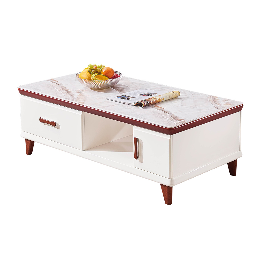 - China Home Furniture Simple Style Durable Wood Glass Steel Stone