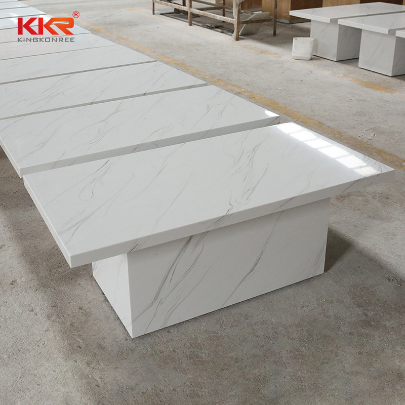 China Square Solid Surface White Marble Coffee Table Top China