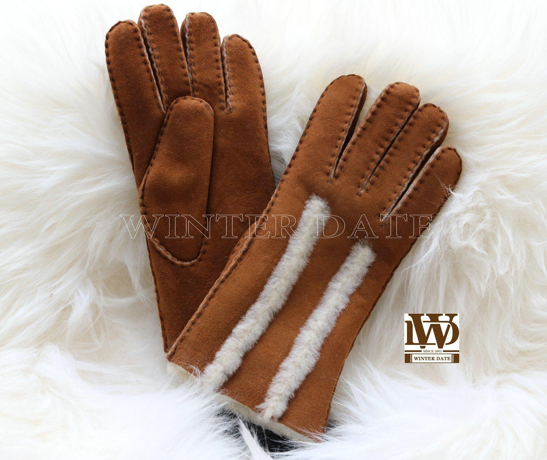 Women/'s Genuine Sheepskin Tan Warm Leather Shearling Fur Gloves