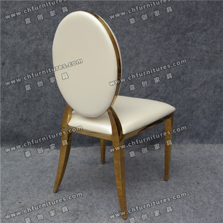 Leather Gold Stainless Steel Chair Furniture (YCX-SS26-03)