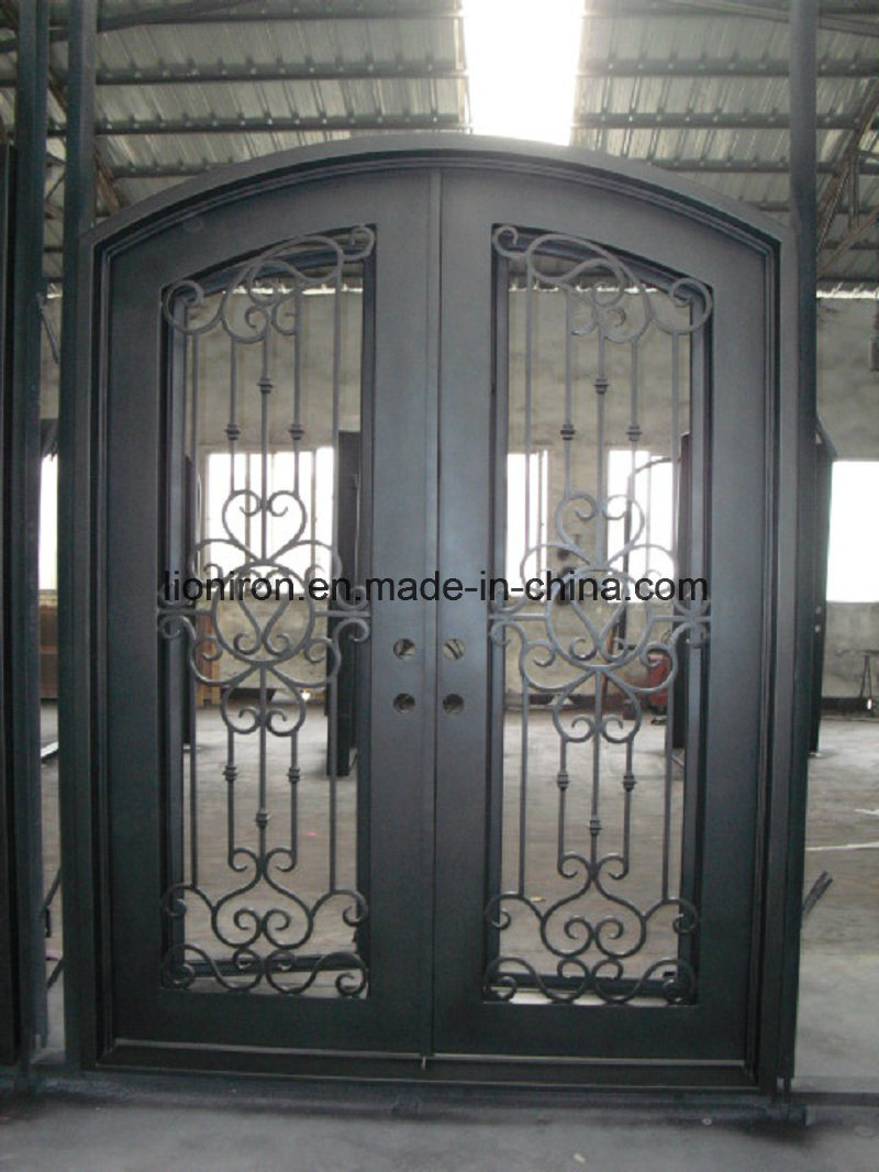 China Security Screen Wrought Iron Entry Door With Eyebrow Top