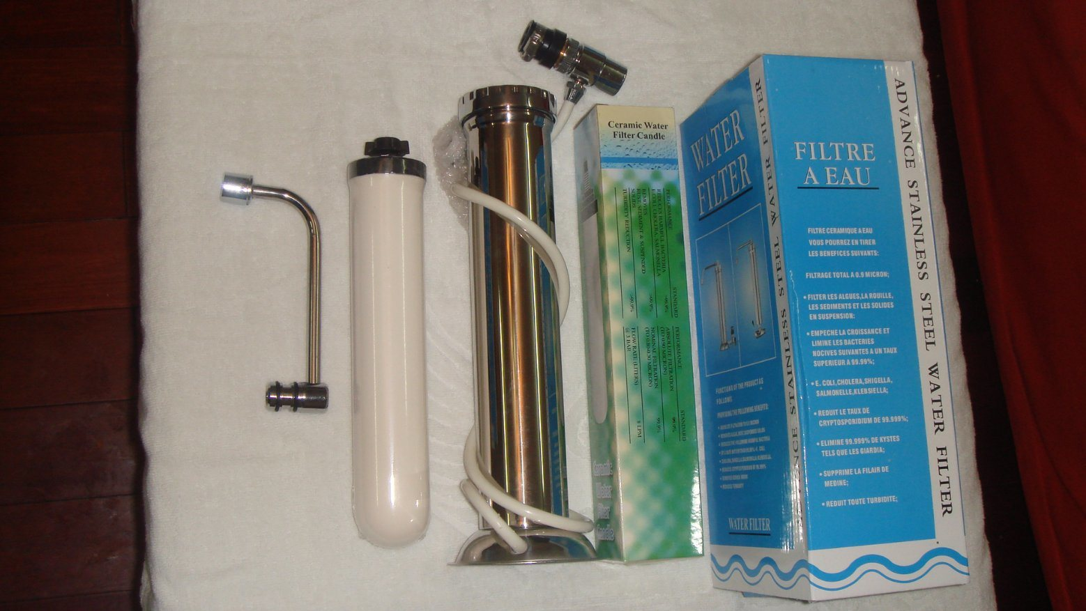 Stainless Steel Water Purifier+Tap Connector+0.5ml Ceramic Filter Candle with Combined Carbon Block