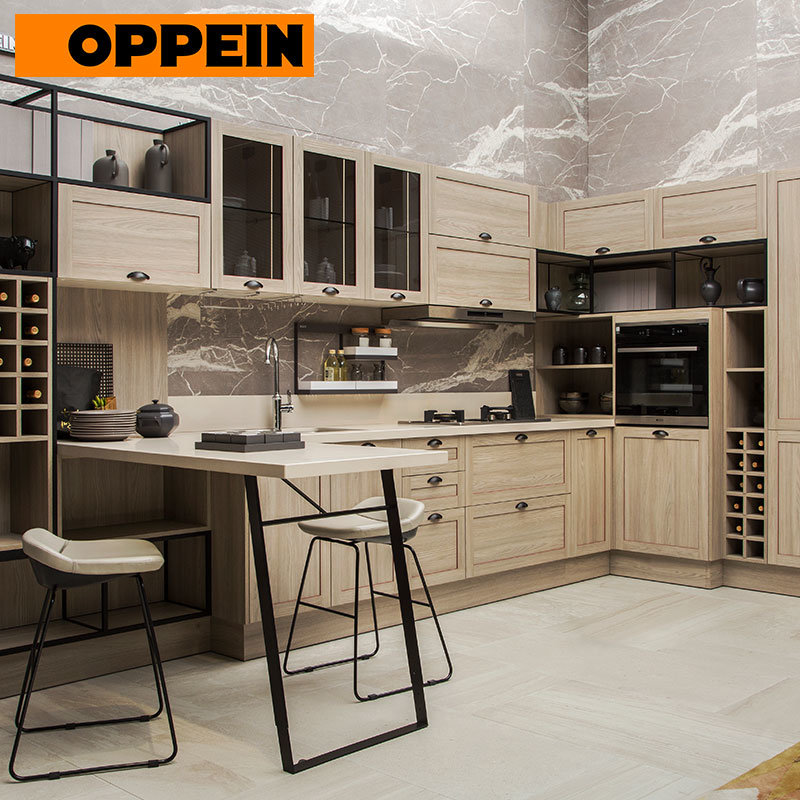 [Hot Item] Oppein Industrial Style Light Wood Grain Fitted Kitchen  Furniture Cabinets