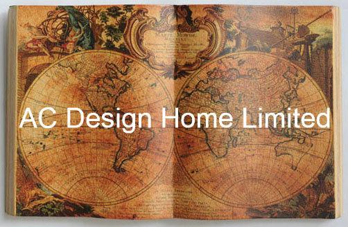 China Classic Light Color Global Map PU Leather/MDF Wood Book Shape ...