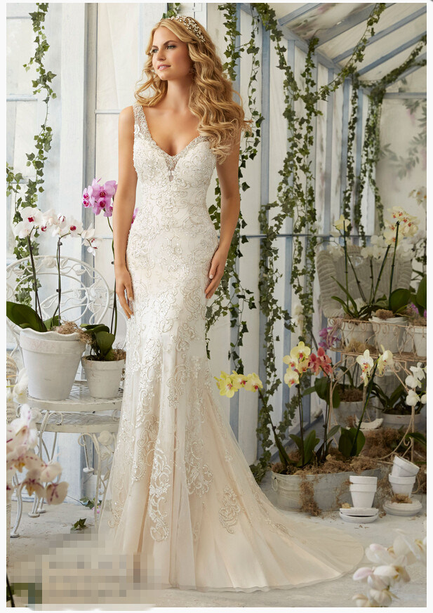 2016 Fishtail Lace Beaded Bridal Wedding Gowns 2809
