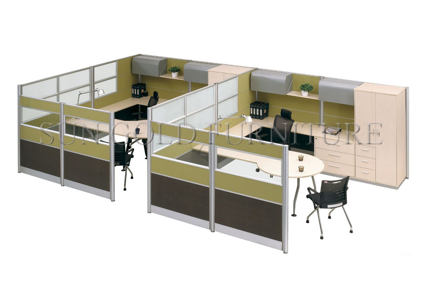120 Degree Office Workstation 3 Person Partition Table Sz Wst692