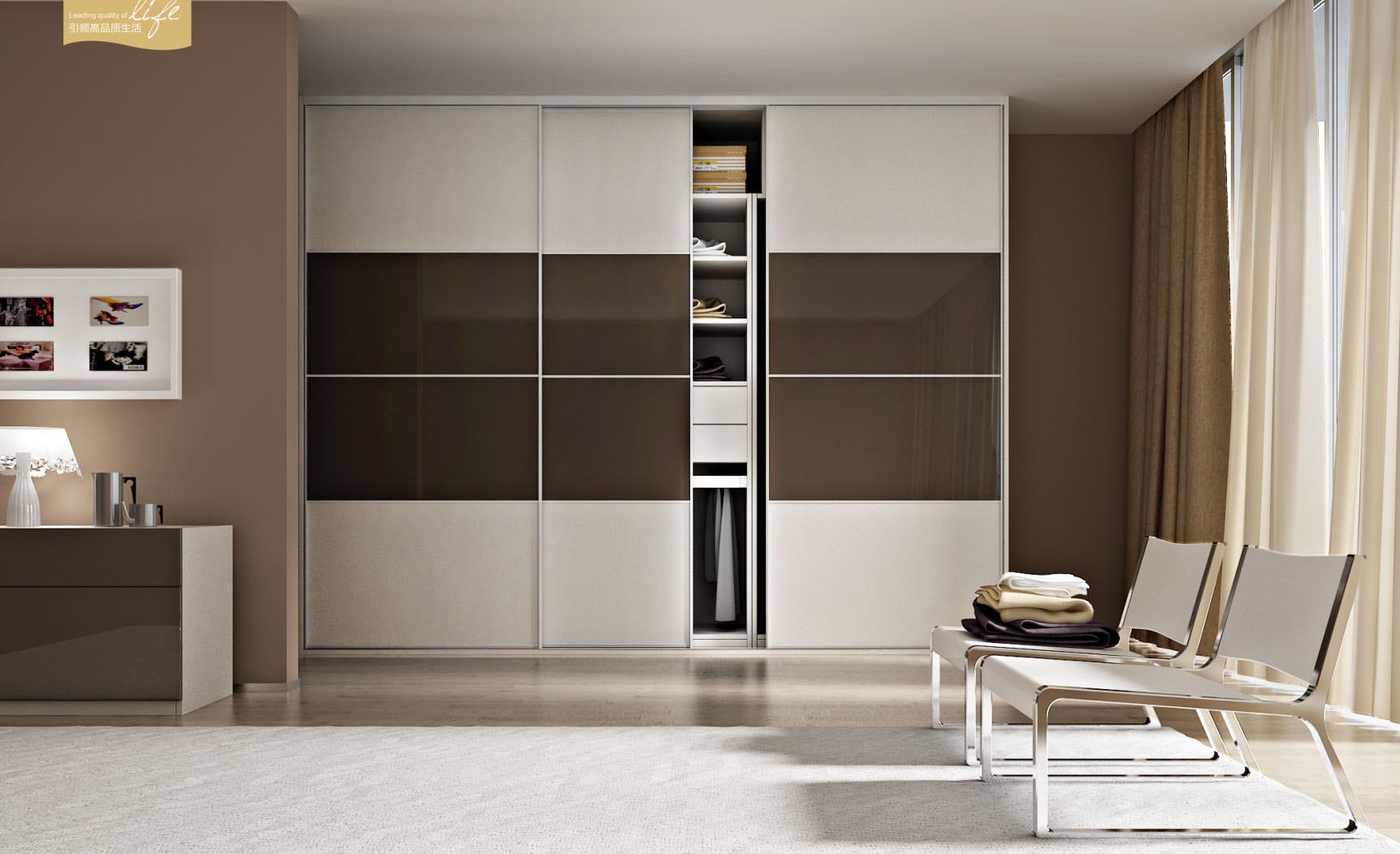 China Modern Design Closet With Sliding Door For Bedroom Furniture V6 Ws001 China Closet Bedroom Furniture