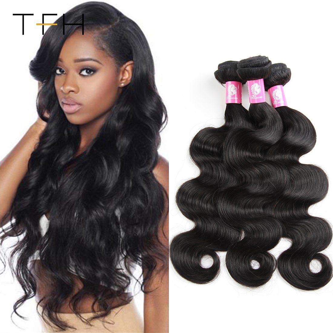Brazilian Human Hair Weave Bundles Deal Ocean Wave 3 Bundles Human Hair Estentions Double Weft Natural Color Remy Hair Weaving Hair Weaves