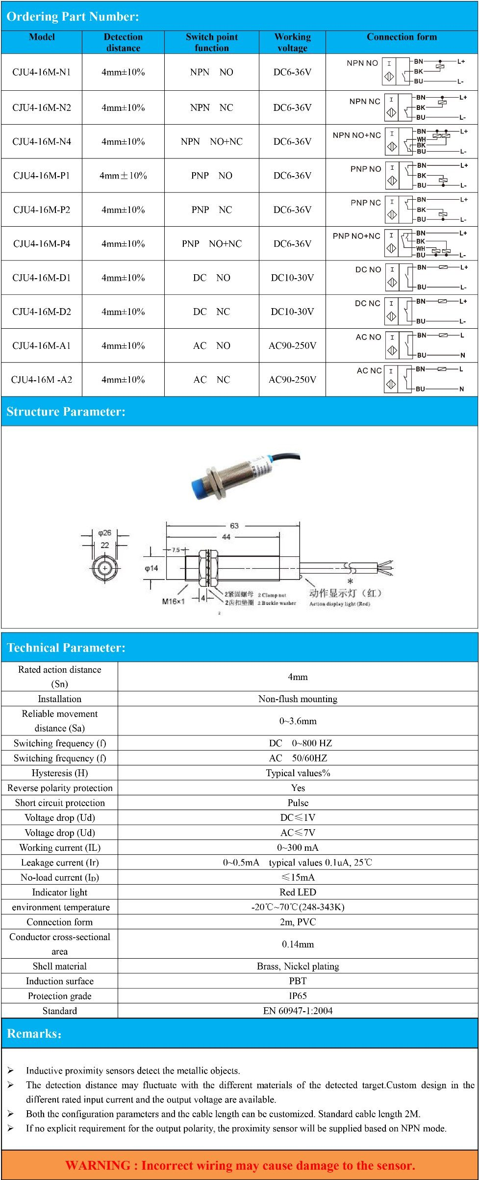 China M16 Inductive Proximity Sensor Switch Non Flush With Detection Together Distance 4mm Npn Pnp
