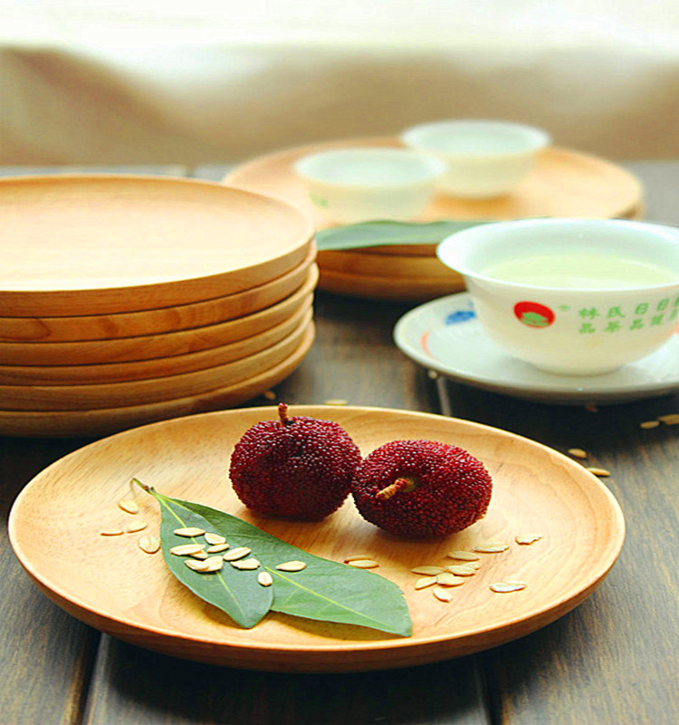 Custom Polished Round Wooden Plate Wooden Restaurant Serving Plate