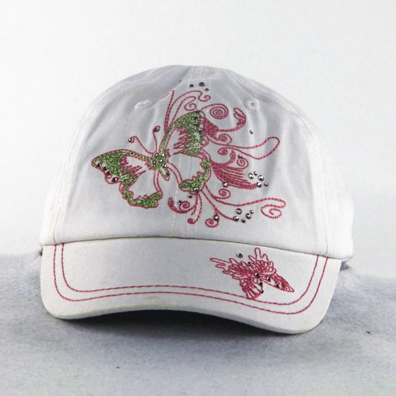 Butterfly Embroidery with Shining Stone Girls Kids Caps pictures & photos