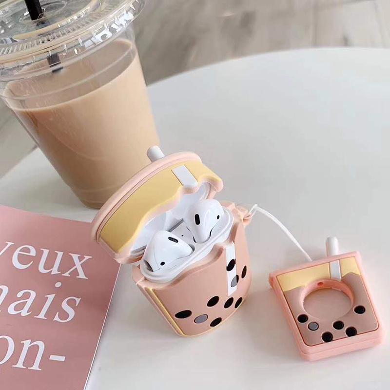 China Airpods 2 Case Cartoon Cute Soft Milk Bubble Tea Drink