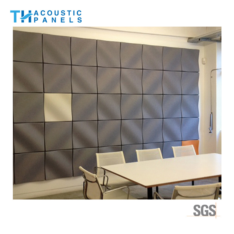 Water Proof Sound Absorbing Panel 3D Polyester Fiber Decorative Wall Panel  For Office