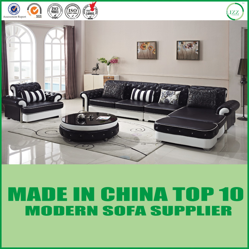 [Hot Item] Button Tufted Hotel Furniture Leather Sectional Sofa Set