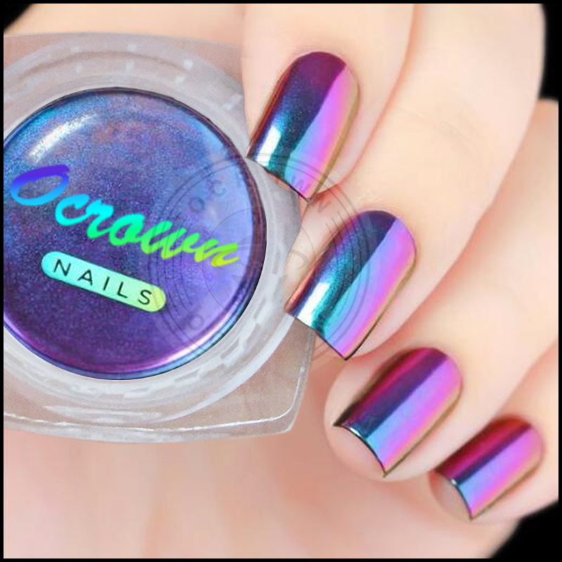 Aurora Rainbow Chrome Mirror Mermaid Acrylic Pigment Powder For Nails