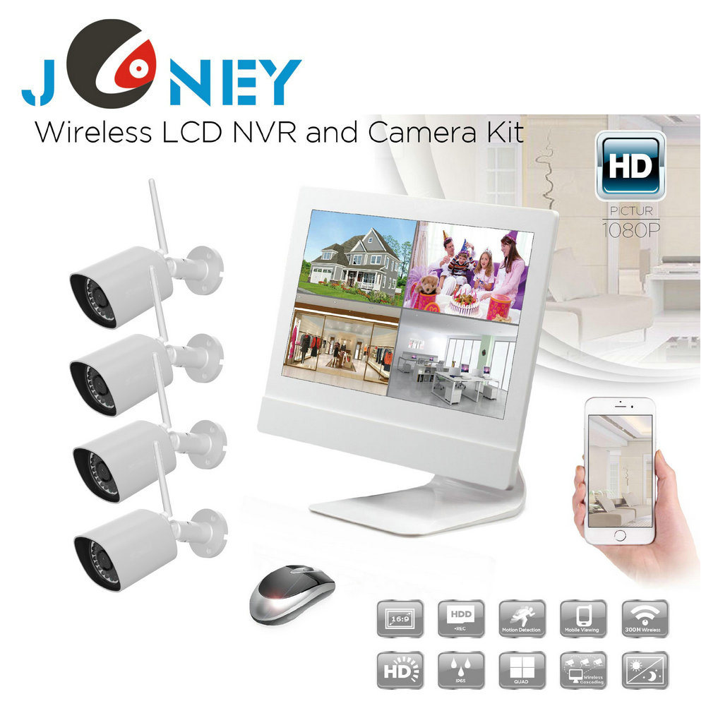 New 4 Channel HD NVR Kit 960p Bullet IP Camera Wireless CCTV System
