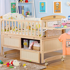 Pine Solid Wood Furniture Baby Bed