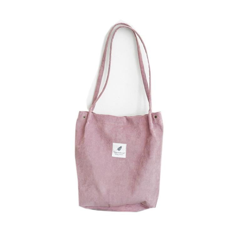 Hot Item Pink Corduroy Heavy Duty Canvas Tote Bag Handbag Large Vintage Capacity College Shoulder