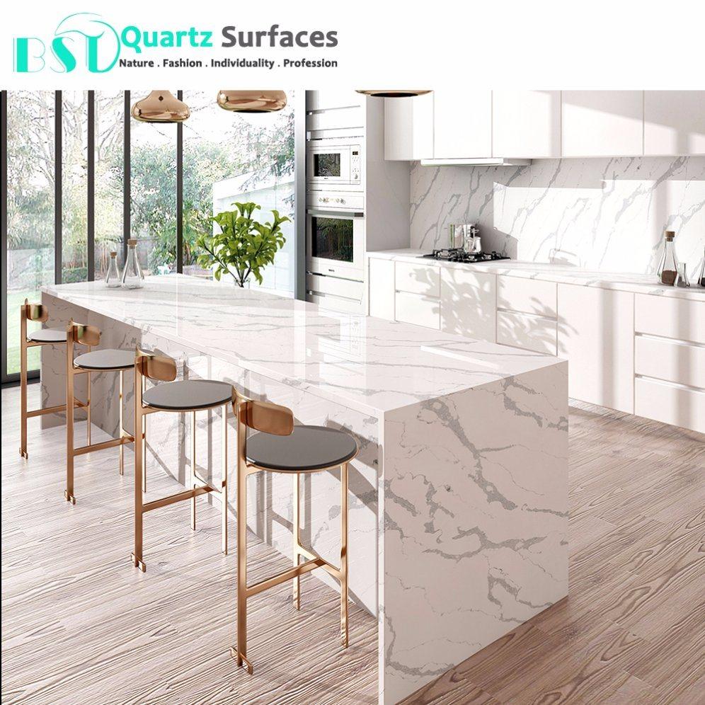 china best calacatta statuario white quartz stone bench