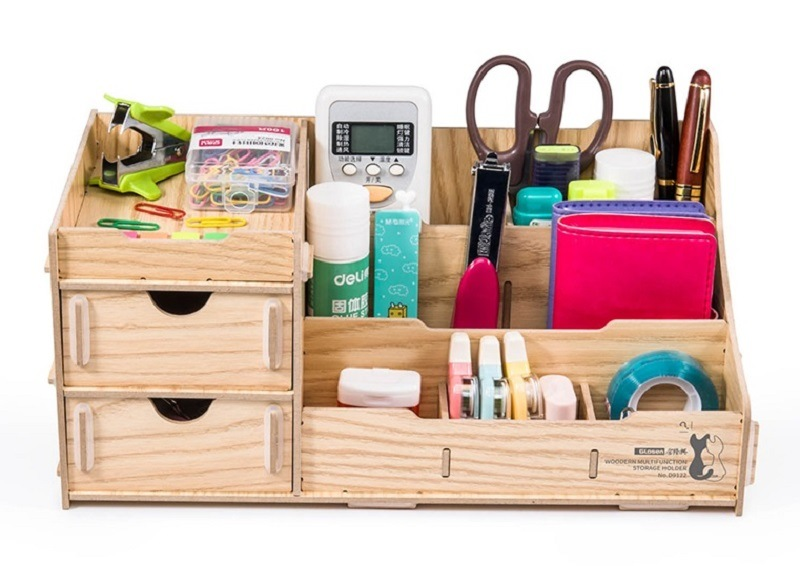 China Wooden DIY Desk Organizer with Drawers and Multi ...