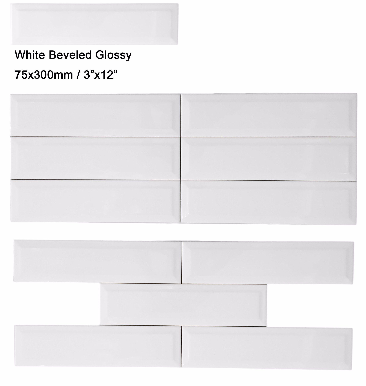 3 X12 White Glossy Ceramic Subway Tile For Kitchen Wall Backsplash