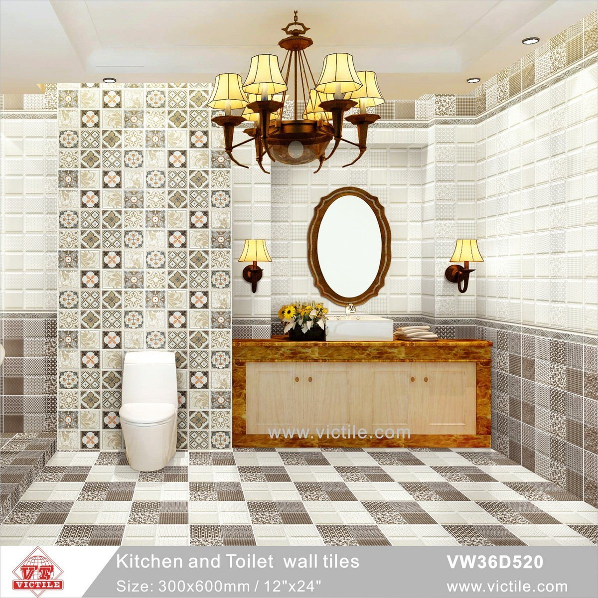 Hot Item New Arrival Decoration Ceramic Wall Kitchen Bathroom Pattern Tile Vw36d520 300x600mm 12 X24