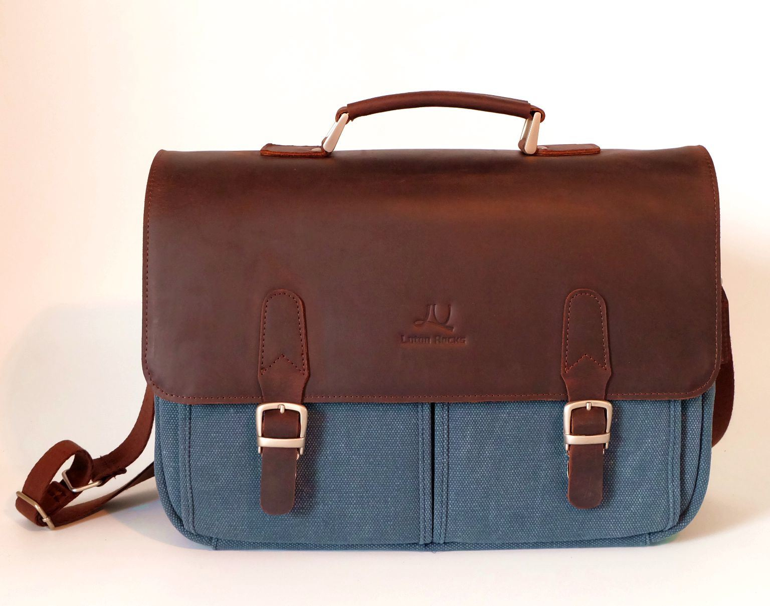a77b60f8f451 [Hot Item] Vintage Genuine Leather Canvas Messenger Bag Laptop Briefcase  Satchel Portfolio