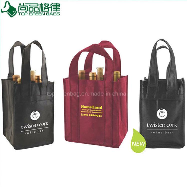 Hot Item Custom Non Woven Wine Bag Four Bottle 4 Carrier