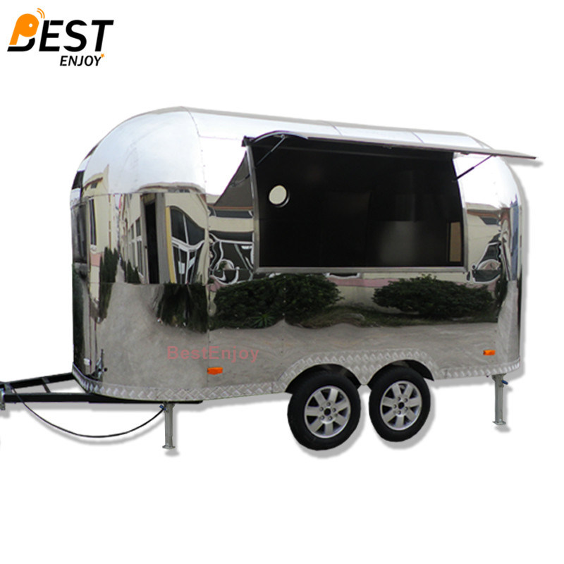 [Hot Item] Airstream Shiny Mobile Fast Food Truck Manufacturer Low Price  for Sale