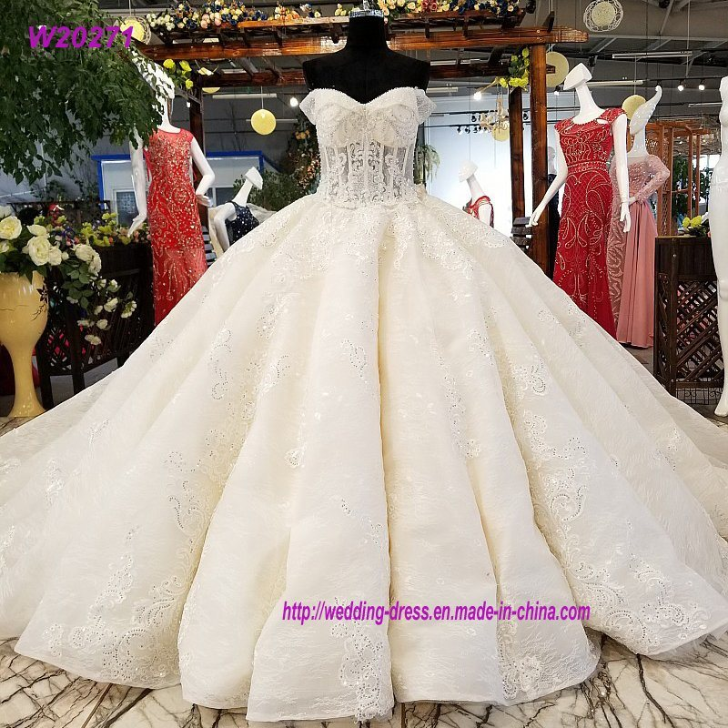 China Super Big Skirt Appliques Puffy Ball Gowns Wedding Dress ...