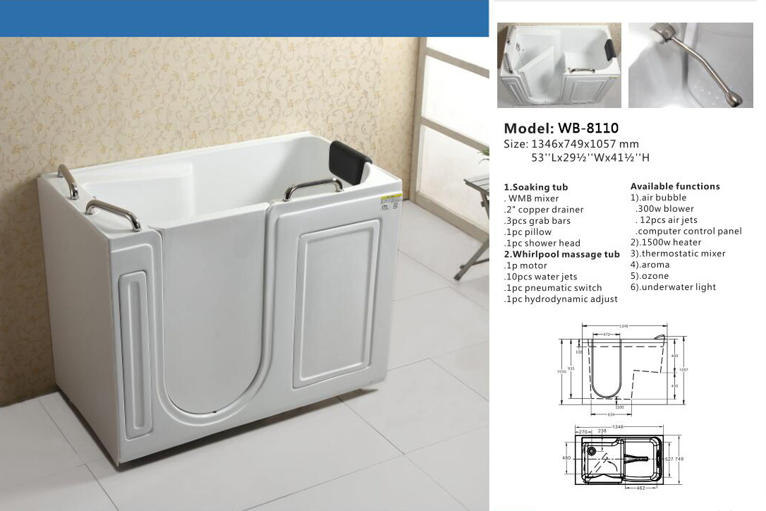 China Special Design Water Jets Whirlpool Corner Bathtub - China ...
