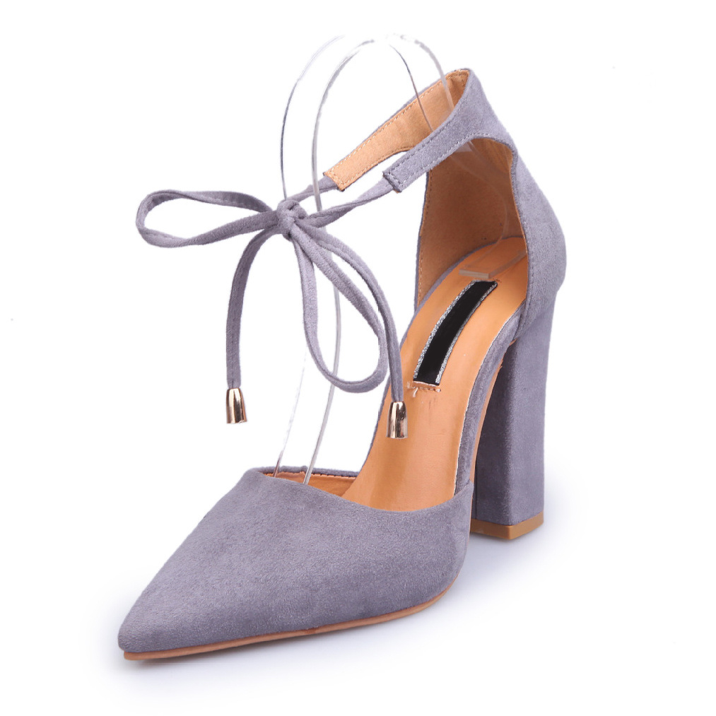 eef74a8ceb China Women Pointed Toe Hight Block Heels Lace-up Comfort Court Shoes -  China High Heel Lady Sandals, Heel Shoe